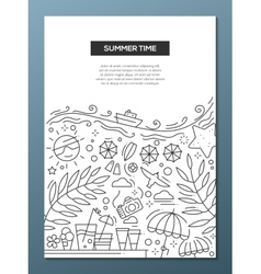 Summer time - line design brochure poster template vector
