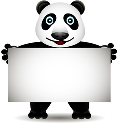 Cartoon panda with blank sign vector