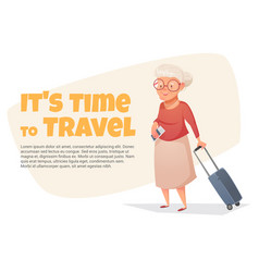 An old woman with a suitcase in her hand vector