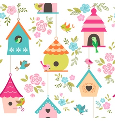 Bird houses pattern vector