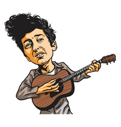 Bob dylan cartoon playing guitar cartoon vector