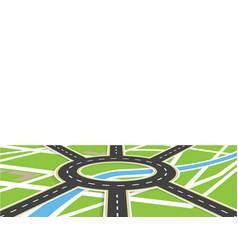 crossroads of roads with markings roundabout vector image