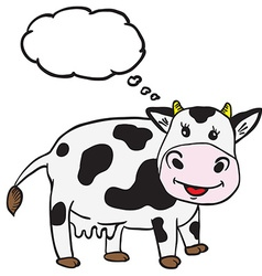 cute cow with thought bubble vector image