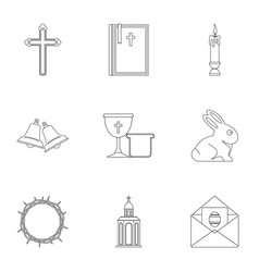 Easter holiday icon set outline style vector