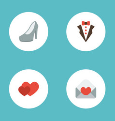 Flat icons love bridegroom dress card and other vector