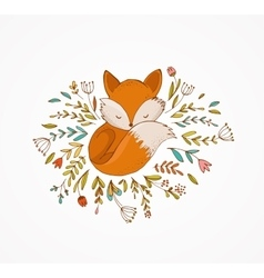 Fox sleeping on the flowers - vector image vector image