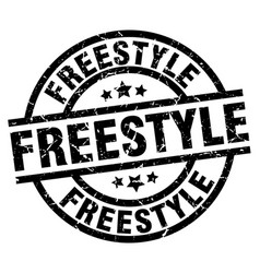 Freestyle round grunge black stamp vector