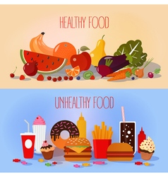 Healthy Food and Unhealthy Fast Food vector image vector image