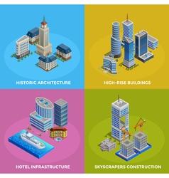 Isometric city 2x2 icons set vector