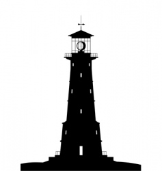 Lighthouse black isolated on white vector