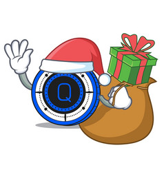 Santa with gift qash coin mascot cartoon vector