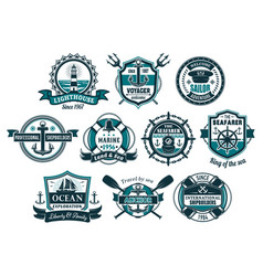 Sea anchor and boat helm nautical badge set vector
