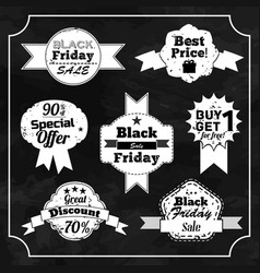 set of black friday chalkboard badges vector image
