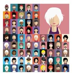 Set of people icons in flat style with faces 06 a vector