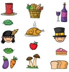 Thanksgiving set on doodle art vector