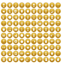 100 beverage icons set gold vector