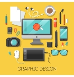 Graphic design workplace with computer vector