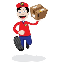 Running delivery man vector