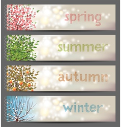 4 seasons horizontal banners vector