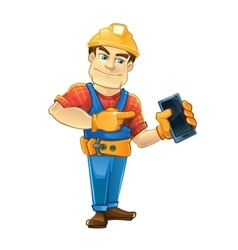 Handyman builder in helmet pointing to the vector