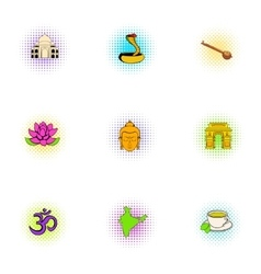 India icons set pop-art style vector
