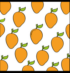 mangos pattern fresh fruit drawing icon vector image