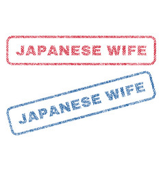 Japanese wife textile stamps vector