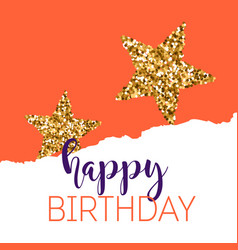 Birthday greeting cards with gold glitter design vector