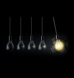 Glowing light bulb technology perpetual motion vector