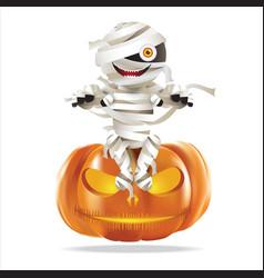 Mummy sitting on halloween pumpkin vector
