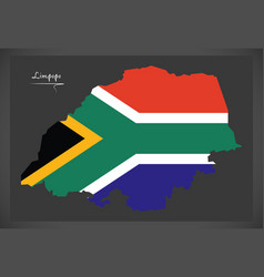 Limpopo south africa map with national flag vector