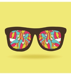funny doodle hipster glasses with pattern vector image