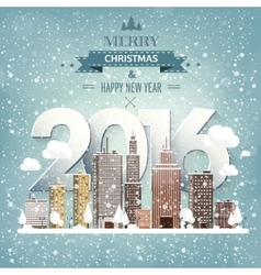 2016 Winter urban landscape vector image