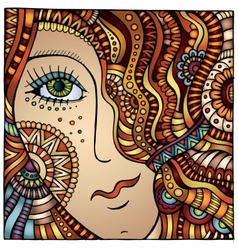 Decorative cartoon red hair girl vector