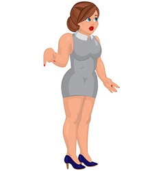 Cartoon young woman in gray mini dress standing vector