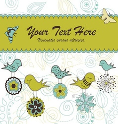 Birds holding flowers card vector image