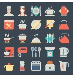 Set of kitchen icons in flat design vector image