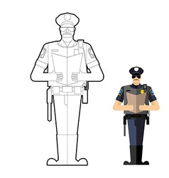 Policeman coloring book police officer at work vector