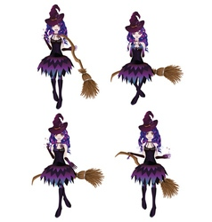 Dark witch with broom vector