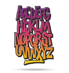 Bright cartoon comic graffiti font alphabet vector