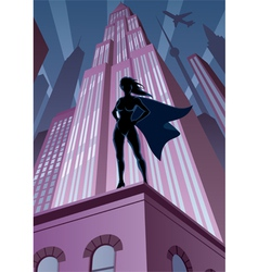 Super Heroine in City vector image