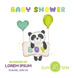 Baby shower or arrival card - baby panda vector