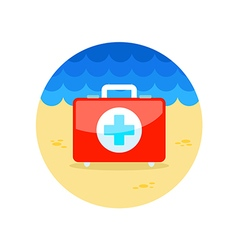 First aid kit icon summer vacation vector