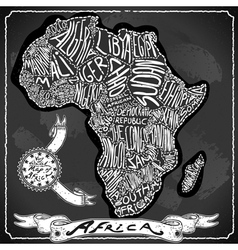 Africa Map on Vintage Handwriting BlackBoard vector image