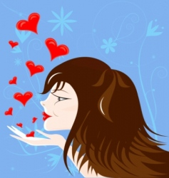 brown-haired girl vector image