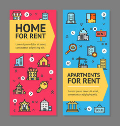 building house or home and apartment for rent vector image vector image