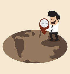 Businessman is locating his location on earth vector image