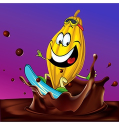 Cocoa pod surfing on chocolate splash - with vector