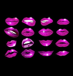 collage pink lips set Design glitter element vector image vector image