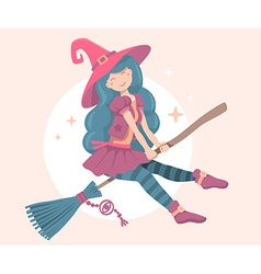 colorful halloween of witch character with h vector image vector image